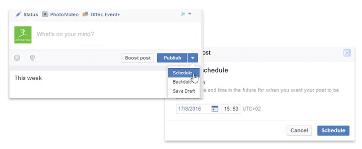 Save time by scheduling future dates for posts to be published.